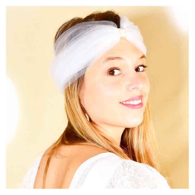 Headband en tulle blanc Les Créations de Juliette