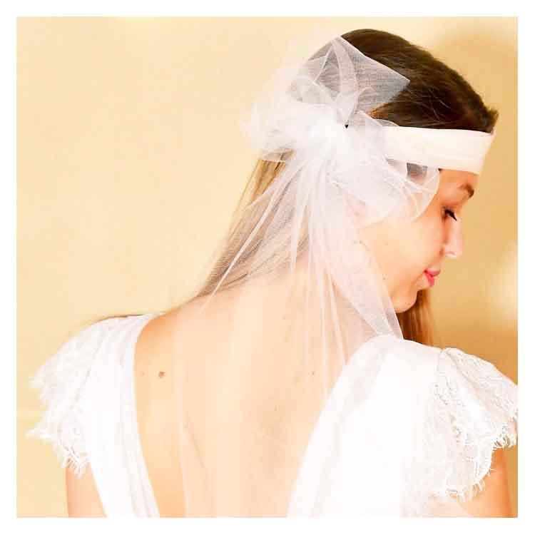 Bandeau mariée blanc Dastar abaca et tulle, Les Créations de Juliette