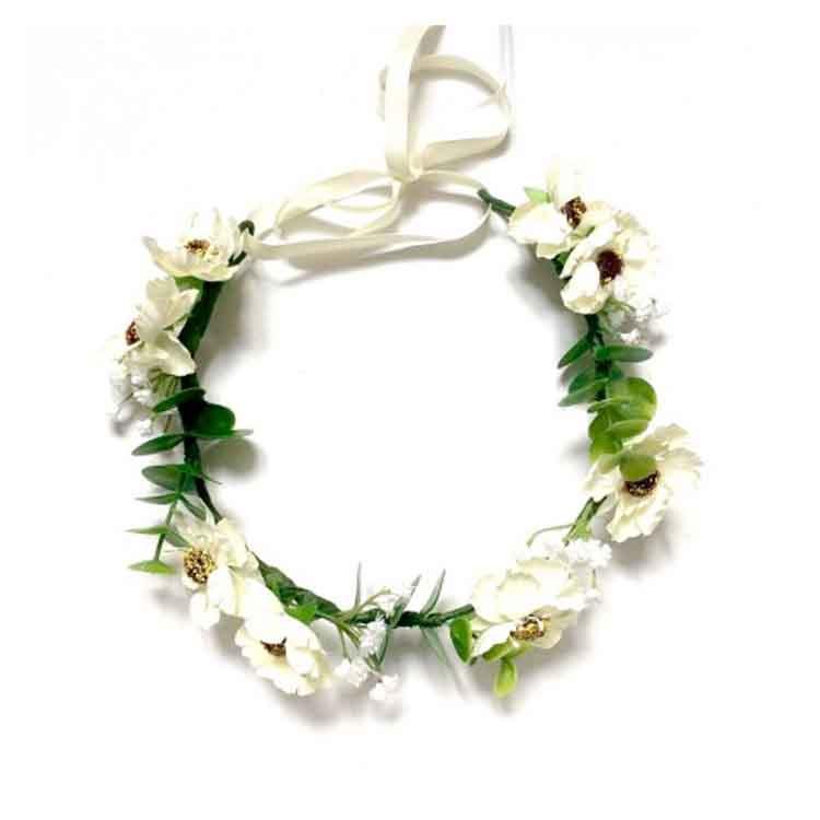 Couronne de fleurs blanche mariée Diane Séraphine Bijoux