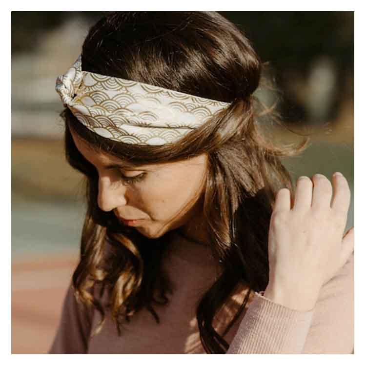 Headband blanc et doré Alma Créations