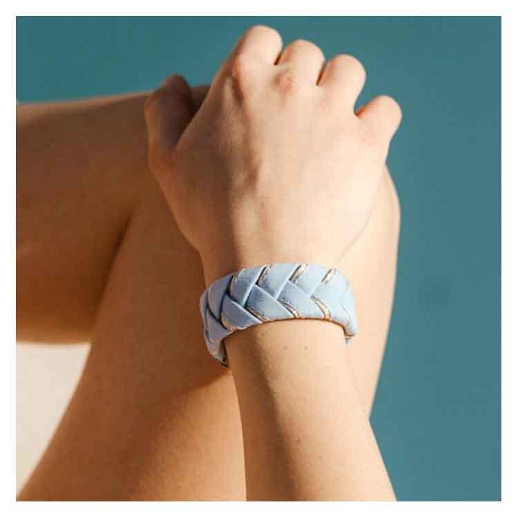 Bracelet tresse bleu ciel Alma Créations