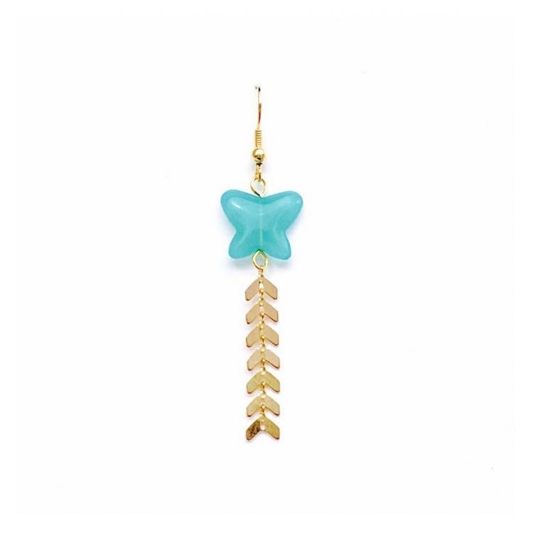 Boucles d'oreilles papillon turquoise FLY MdeB Créations