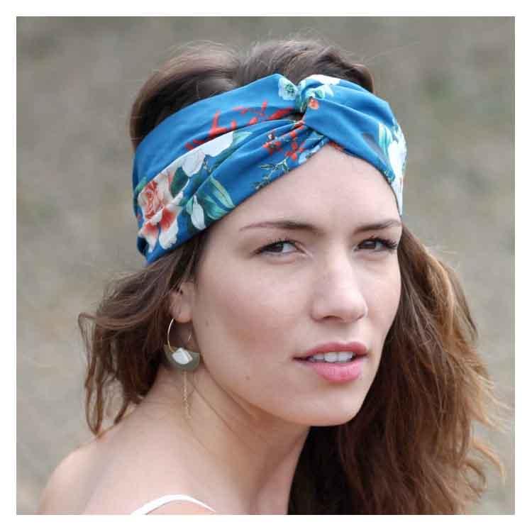 Bandeau fleurs bleues Hana Comptoir Doré