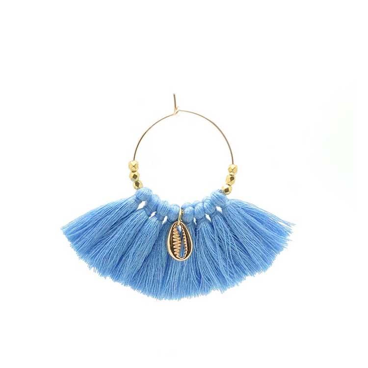 Boucles d'oreilles pompons bleu Séraphine Bijoux