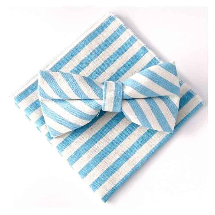 Noeud papillon et pochettes rayé bleu ciel et blanc Comptoir Doré
