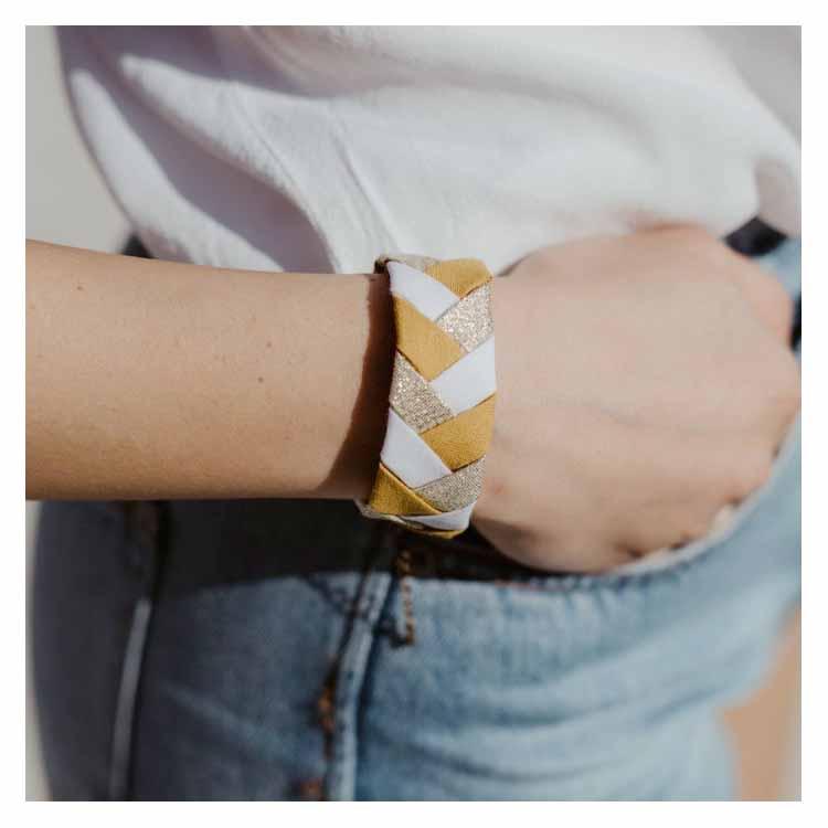 Bracelet tresse jaune blanc doré Alma Créations