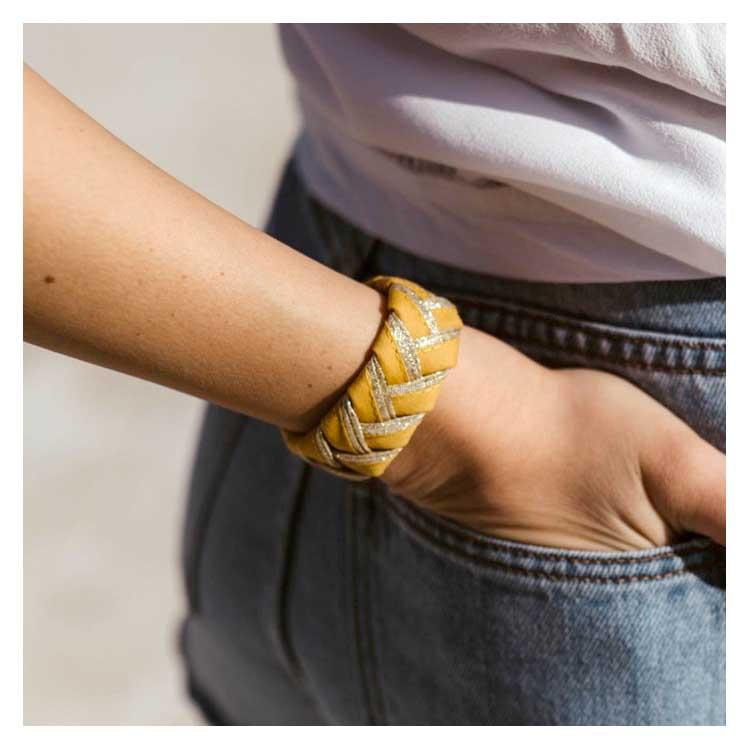 Bracelet tressé jaune Alma Créations