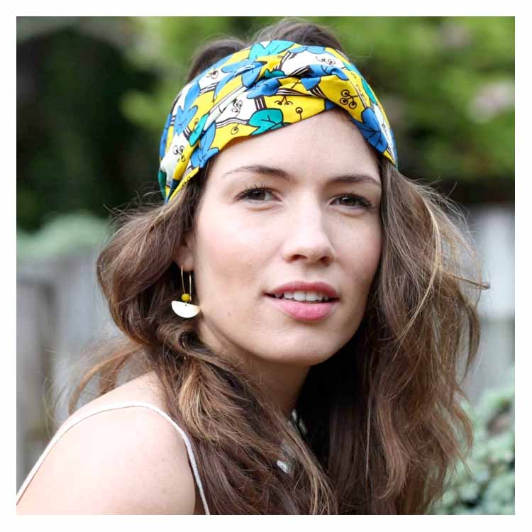 Bandeau headband wax jaune bleu vert Comptoir Doré