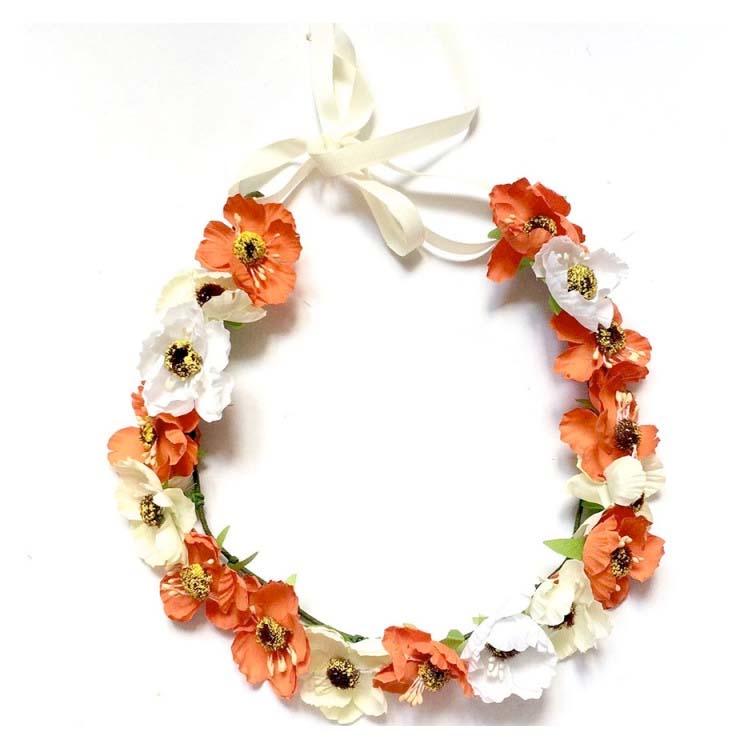 Couronne de fleurs Aganippe Orange Séraphine Bijoux