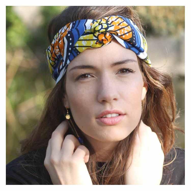 Headband Wax Lazuli bandeau wax orange bleu jaune Comptoir Doré