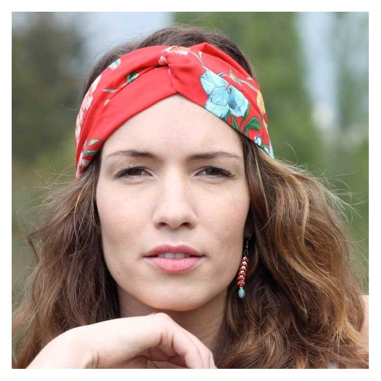 Bandeau Hana Rouge headband fleurs rouges Comptoir Doré