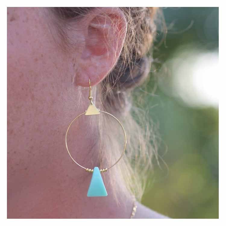 Boucles d'oreilles Nina bleu vert MdeB Créations