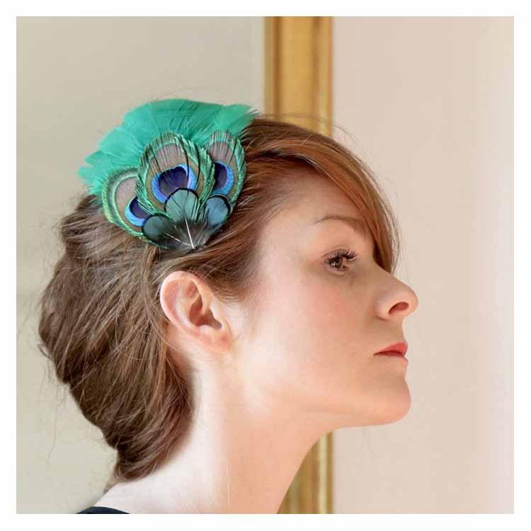 Grand Zozo Paon vert Séraphine bijoux barrette plumes vertes